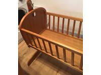 Wooden Rocking Baby crib/cot suitable from birth