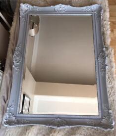 Ornate vintage silver & grey painted mirror