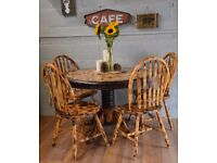 Solid Pine Burn Wood Round Dining Table & 4 Wooden Chairs