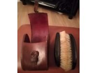 1950's leather brush case with brushes