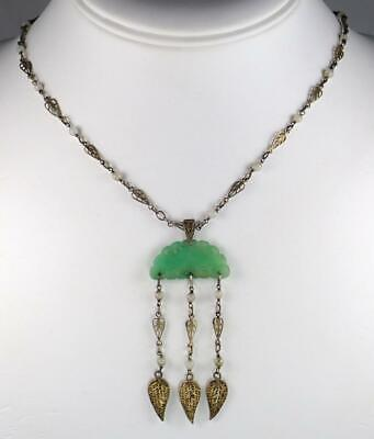 Dainty cable chain necklace with charm bell flower and white jade bead