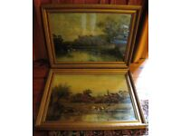 A Pair of Large Romantic Antique Victorian Oilgraph Pictures ~1889 G West~ in Original Gesso Frames