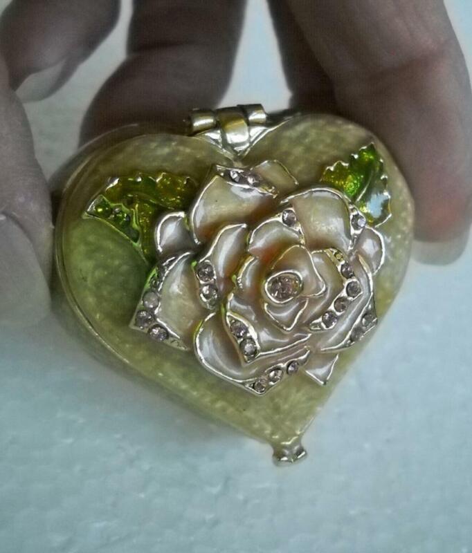 MONET Heart Shape Metal Enamel Hinged Trinket Box Pink Stones Rose