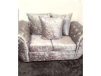 2+3 crushed velvet silver sofas