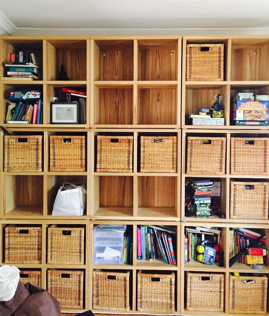 Oak Effect Storage Unit With 18 Rattan Baskets Ikea