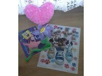 (I NEED MY SPACE BACK!! Spongebob /Puppies 3D Posters, Bendy Flower + TU Heart Cushion