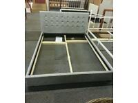 A brand new stylish silver velvet king size bed frame.