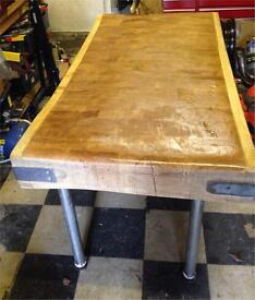 Authentic Solid Butchers Block complete with stand