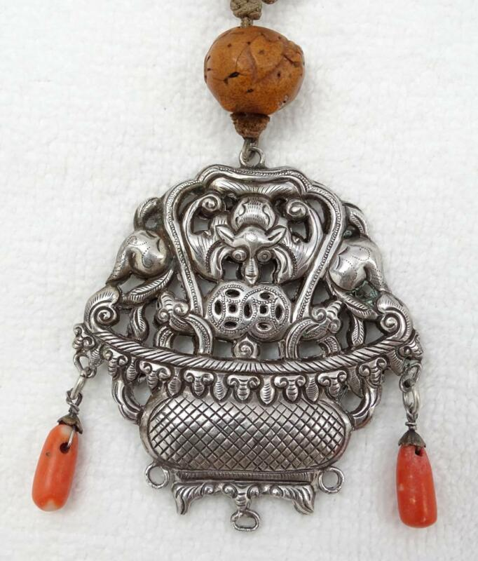 Antique Chinese Silver Coral Dangle Double Sided Bat Basket Pendant Chatelaine