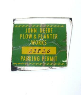 VTG John Deere Plow & Planter Works Parking Permit Sticker Decal Factory Plant