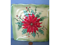 square poinsettia salad plate