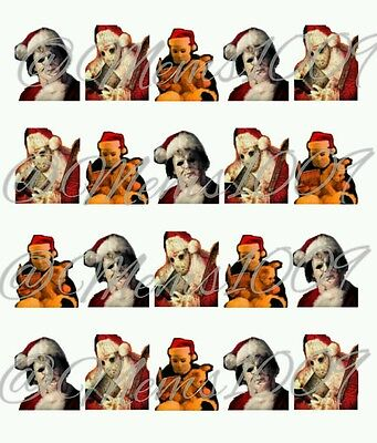 Michael Myers and Jason Christmas nail decals  (water decals) Jason - Michael And Jason