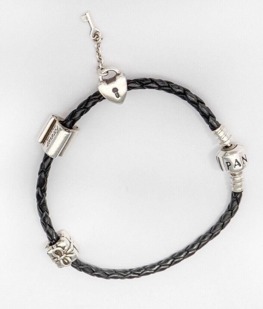 cb7700e46 Genuine Pandora Black Leather Rope Bracelet with Three Charms | in ...