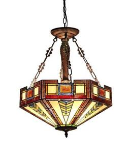 NEW Chloe Lighting CH33421AM20-UH3 Baxter Tiffany-Style Mission 3-Light Inverted Ceiling