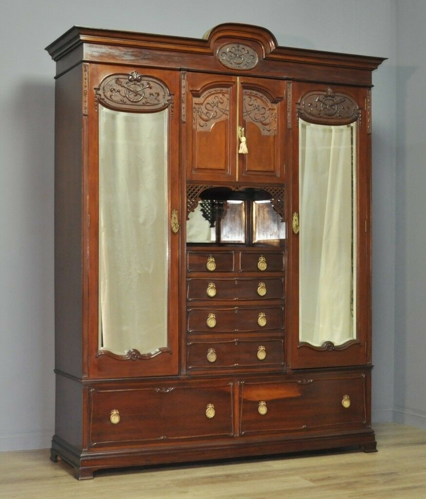 atlas wardrobes mahogany door antiques antique victorian wardrobe breakfront three