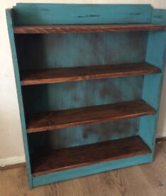 Distressed wood bookcase