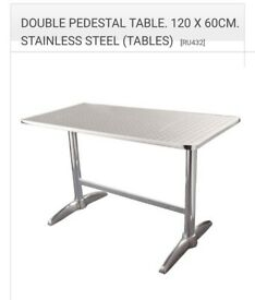 Retro Diner Style Stainless Steel Dining Table