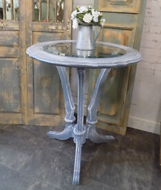 Painted Shabby Chic Glass Topped Coffee Table