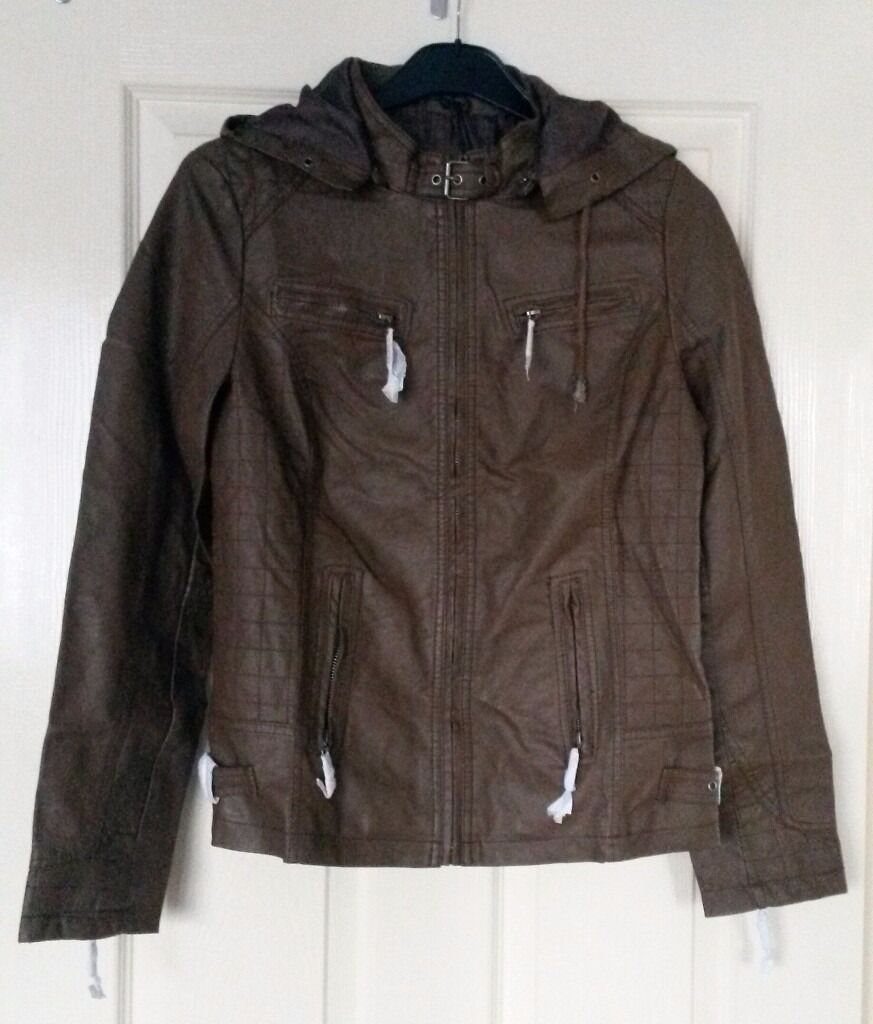 Brown leather jacket with hoodin Stretford, ManchesterGumtree - Brand new Brown leather jacket with hood Buckle and zip design Zip at the wrists 2 pockets Available in XL Selling for £12