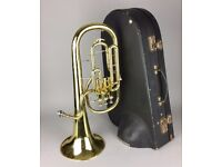 -WELTKLANG- BRASS Eb TENOR HORN No. 395 with MOUTHPIECE & CURTON CARRY CASE BOX