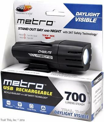 CygoLite Metro 700 Lumens LED USB Rechargeable Bike Headlight Daylight Visible