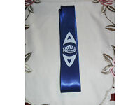 unique royal enfield motif on a NEW Classic Mens SLIM Solid Plain satin feel royal blue Tie