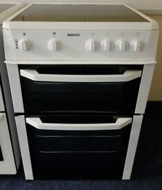 White Beko 60cm Ceramic Cooker - 12 Months Warranty - £180