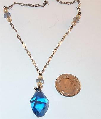 ANTIQUE ART DECO STERLING SILVER BLUE GLASS DROP PENDANT LAVALIERE NECKLACE