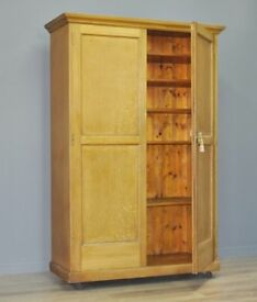 Large Antique Victorian Rustic Painted Pine Kitchen Pantry School Cupboard