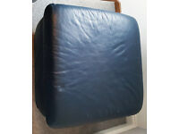 3 + 2 seater and puffer dark blue leather sofa