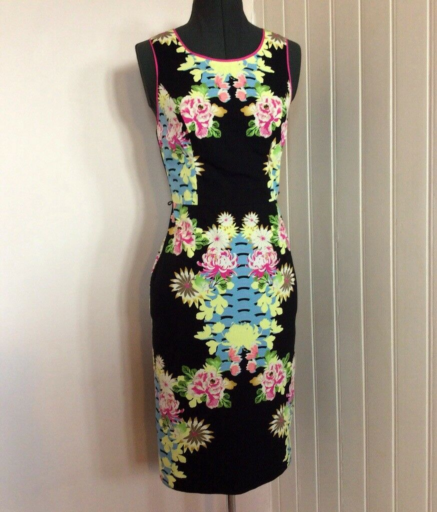 New Black Floral Smart Shift Dress Wedding Guest Mother Of The Bride ...