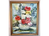 VINTAGE FLORAL OIL PAINTING, SIGNED. 21 inches height & 17 inches width.