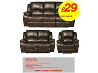 Brand New Sofa Suites in Leather Air Fabric Recliners