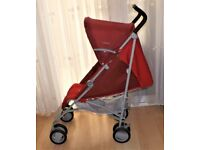 CHICCO LONDON PRAM BUGGY IN RED SUITABLE FOR HOLIDAY BUGGY HAS SUN COVER ,