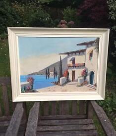Vintage Oil Painting Mediterranean Landscape On Canvas Framed & Signed