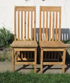 2 dining chairs, pine, solid wood farmhouse set of high back dining chairs FREE DELIVERY WITHIN LE3