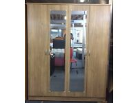 **100% GUARANTEED PRICE!**BRAND NEW 4 Door Mirrored Wardrobe With Lockable Drawer Solid MDF Wood