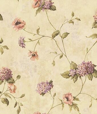 Wallpaper Designer Henrietta Poppies & Hydrangea Floral Trail Wallpaper on - Trail Wallpaper