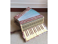 Vintage Continental Herfeld Neuenrade German Red Cream 24 Bass Accordion + Case