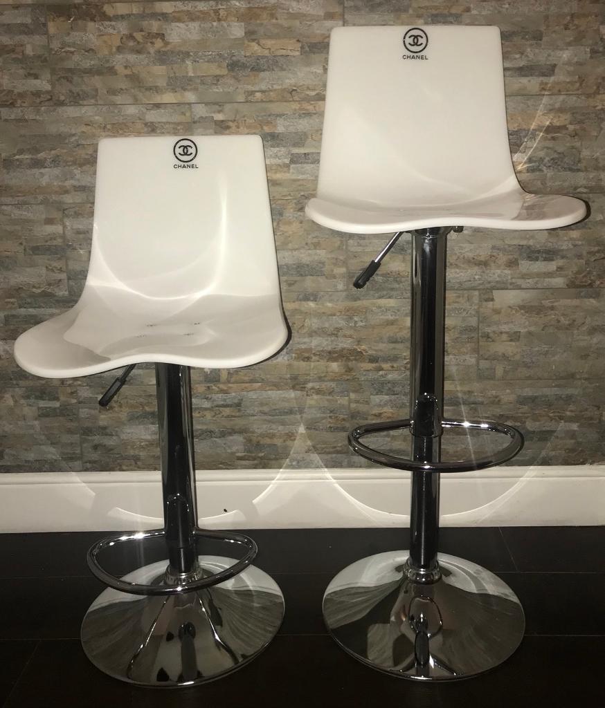 Pair of *REDUCED* Chanel gaslift breakfast bar, makeup salon stools