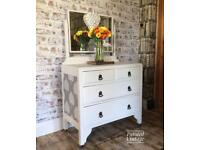 Vintage 1930 solid wood dressing table/chest of drawers/hand painted.
