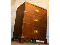Campaign style cabinet draw military bedside side table chest antique vintage haberdashery drawer