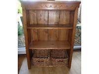 Vintage Original Pine Storage Shelves Bookcase Willow Baskets Hall Kitchen Home Office Beach Hut