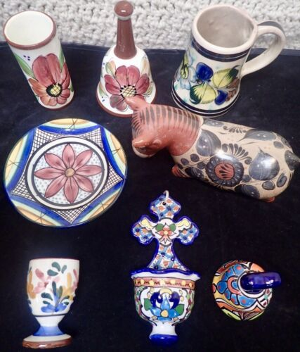 Lot of 8 colorful painted pottery pieces from Mexico & Spain Tonala Talavera