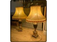 Pair of Stunning Large Vintage Brass Urn Table Lamps With Gold Tassel Trim Shades