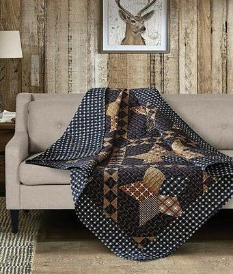 PADUCAH STAR 50x60 QUILT THROW : COUNTRY CABIN BLUE BROWN BLACK PLAID BLANKET Quilted Throw Blanket