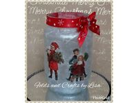 Vintage Christmas lanterns with free battery tea light.