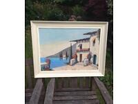Vintage Oil Painting Mediterranean Landscape Signed