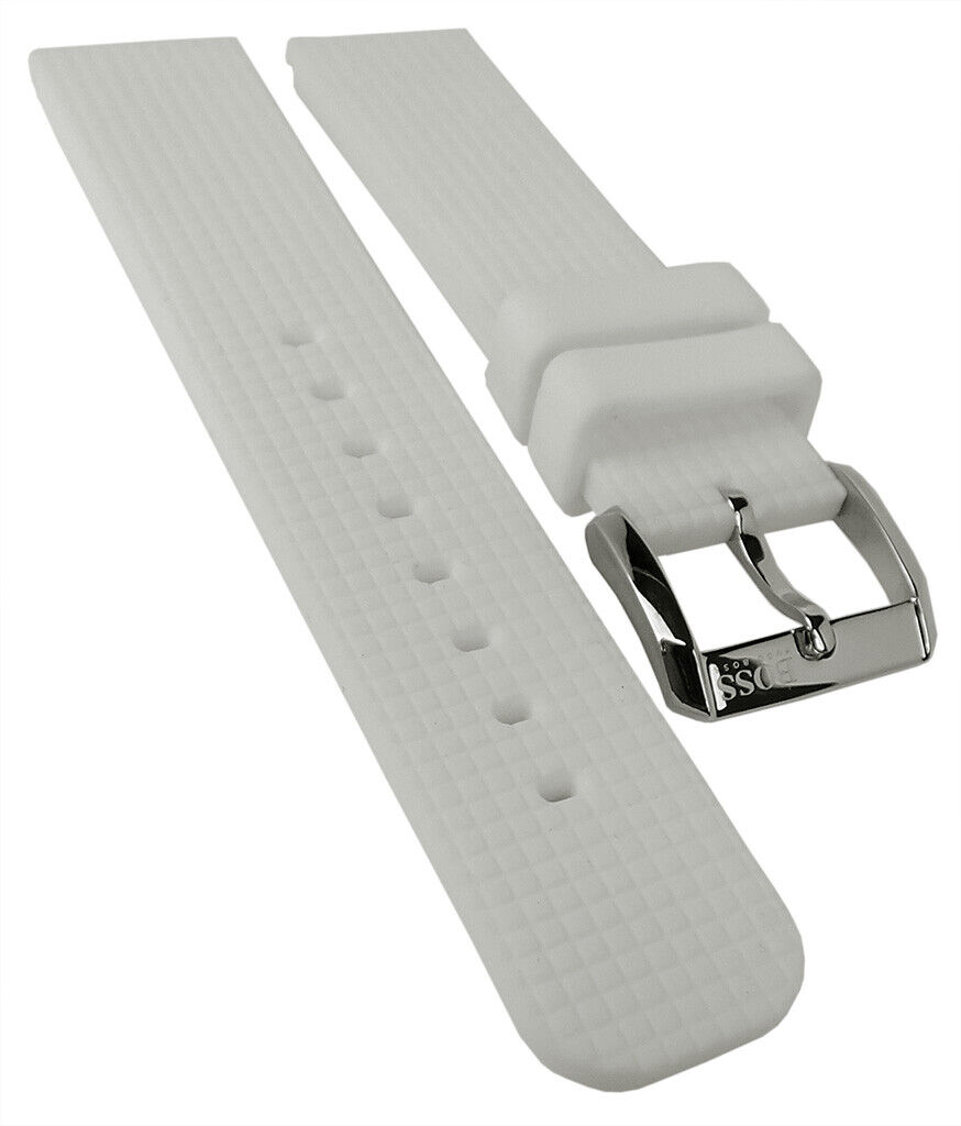 Hugo Boss Ersatzband 22mm Silikon Band weiß Schließe silbern 1502208