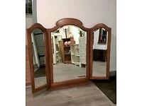 Large hardwood triple dressing or mantle mirror